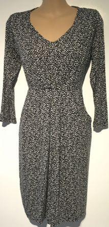 JOJO MAMAN BEBE BLACK SPOTTY PRINT MATERNITY & NURSING DRESS SIZE S 10